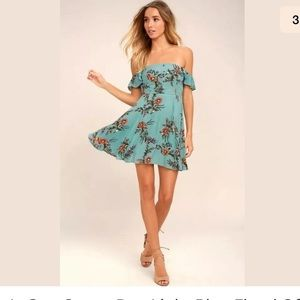 Lulus one sweet day blue off shoulder dress sz XL